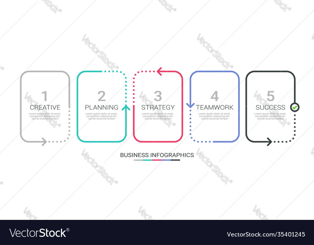 Thin line infographic template with 5 steps