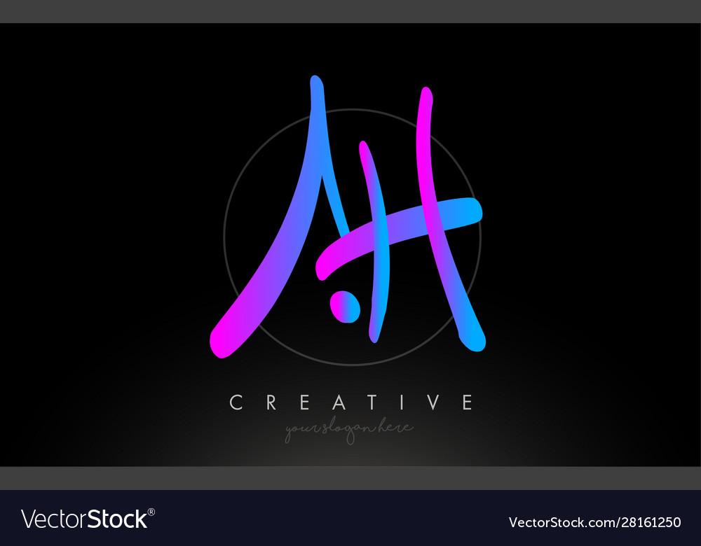 Ah artistic brush letter logo handwritten
