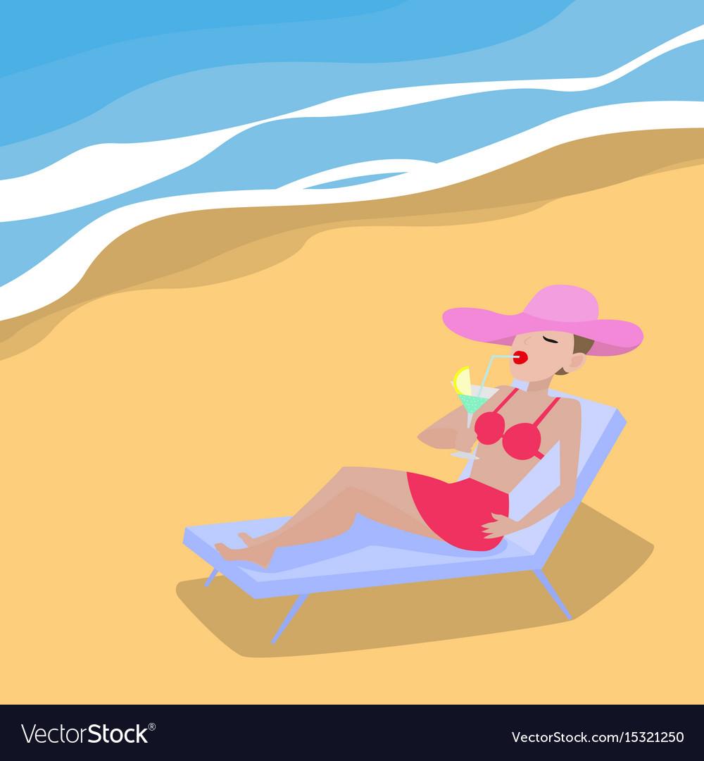 Cartoon woman lies on deckchair sandy beach vector image voltagebd Choice Image