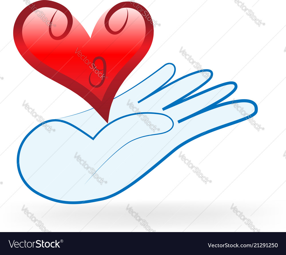 Charity hand gift of love heart icon