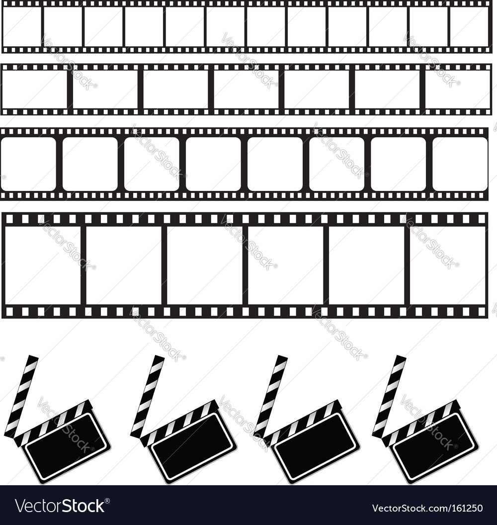 Clapper board and film frame vector image