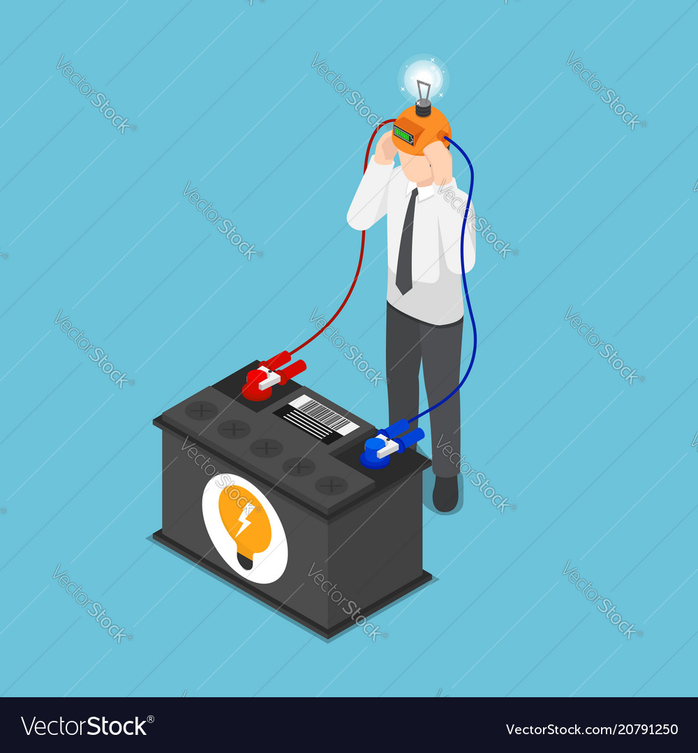 Isometric businessman recharge his idea from