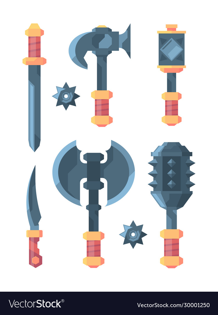 Medieval weapons slice knives axes swords and