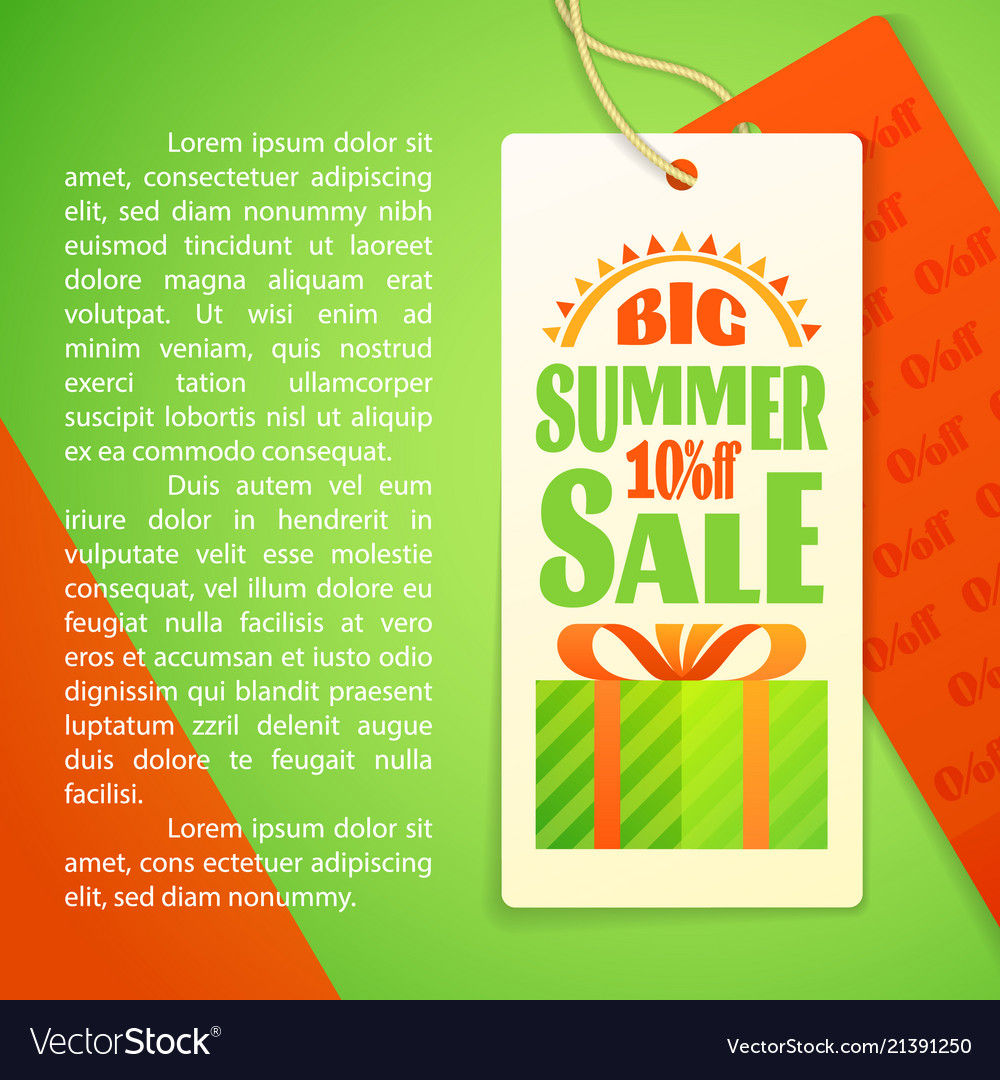 Summer sale letters design template sun gift box