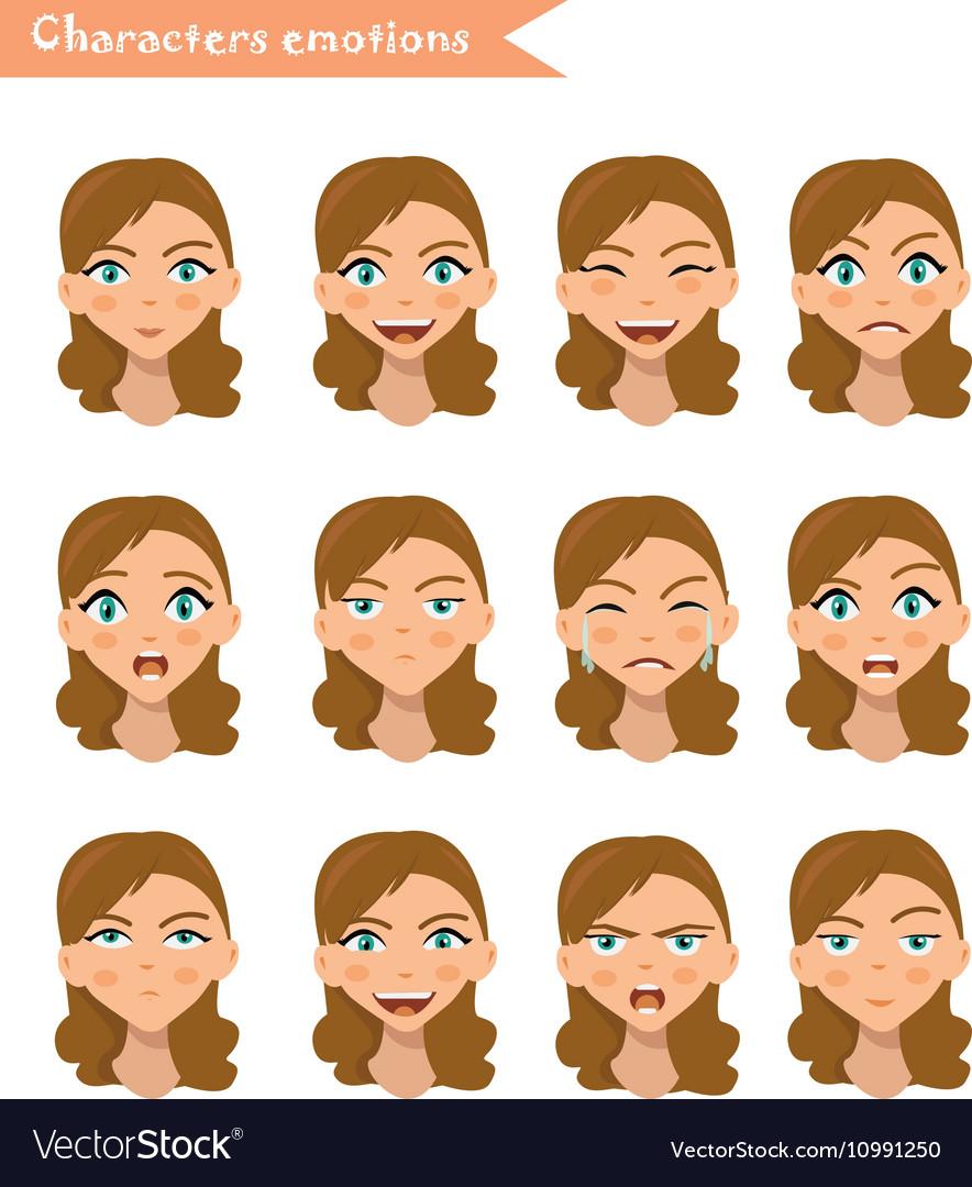 Woman emotion face set vector image