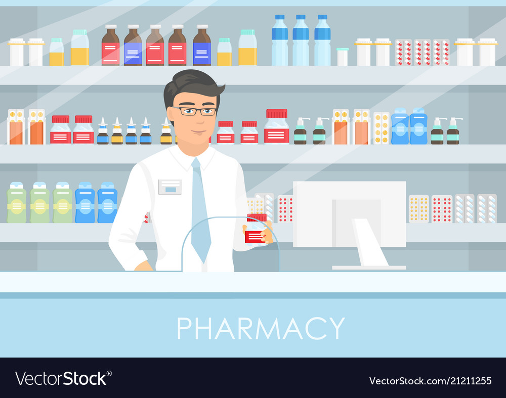 A handsome male pharmacist