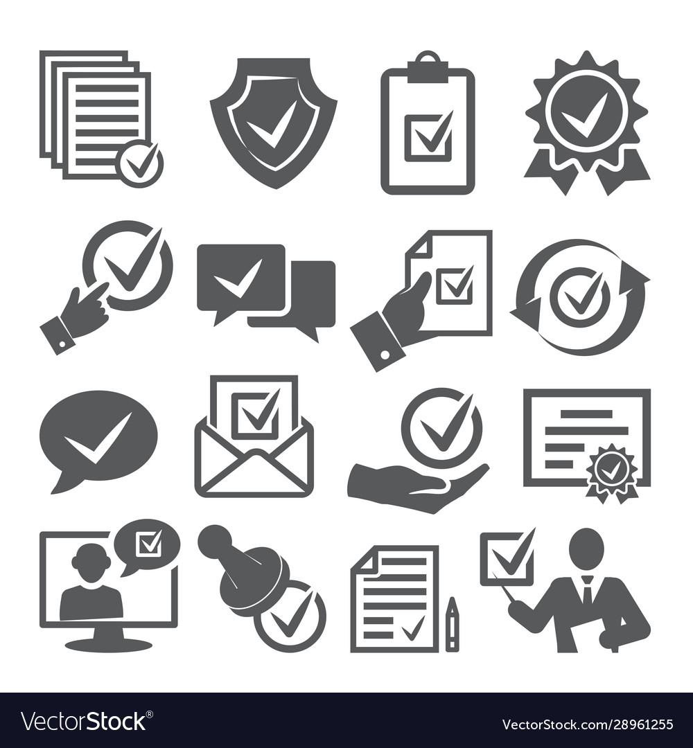 Approved icons set on white background