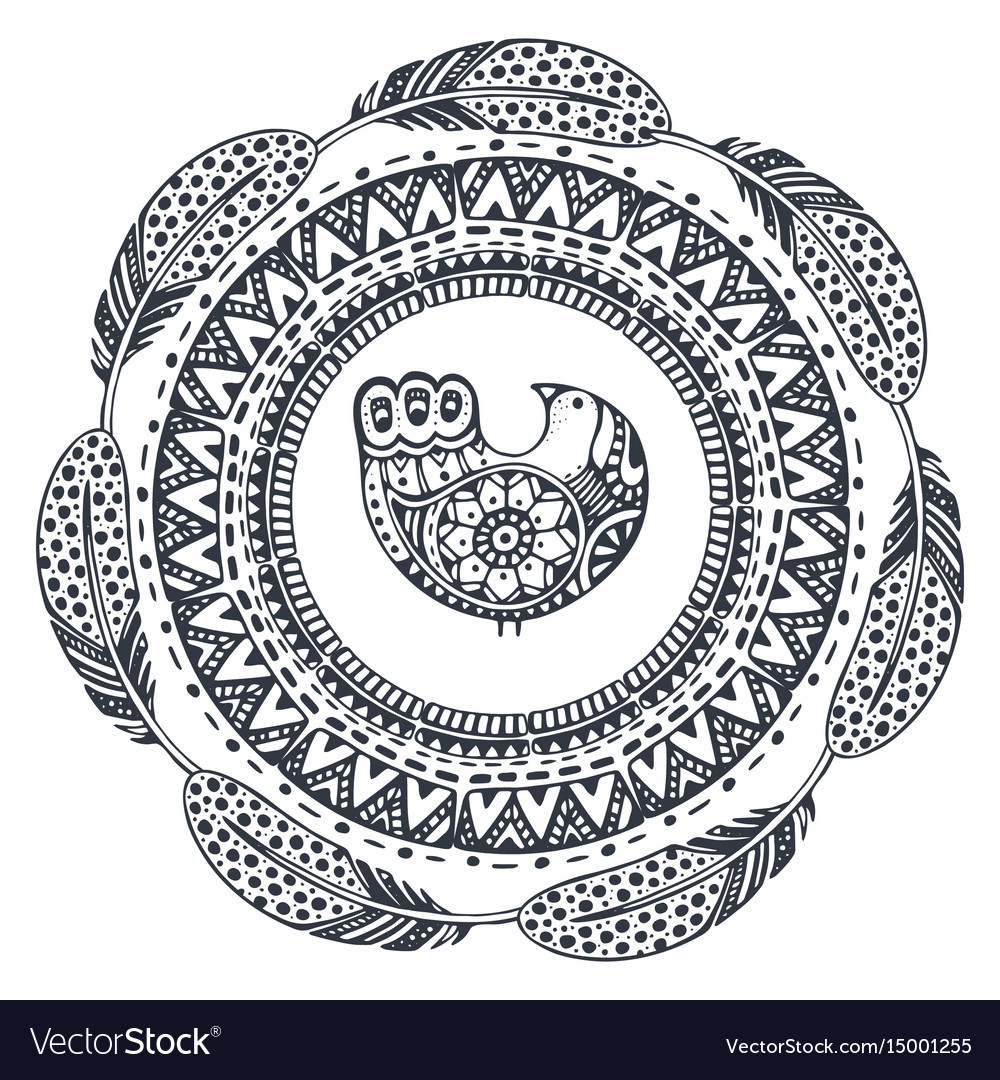 Beautiful print with hand drawn ethnic elements
