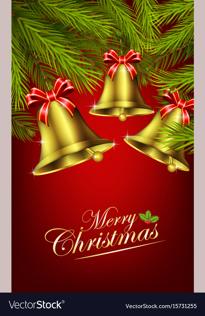 Christmas bells with palm tree vector image