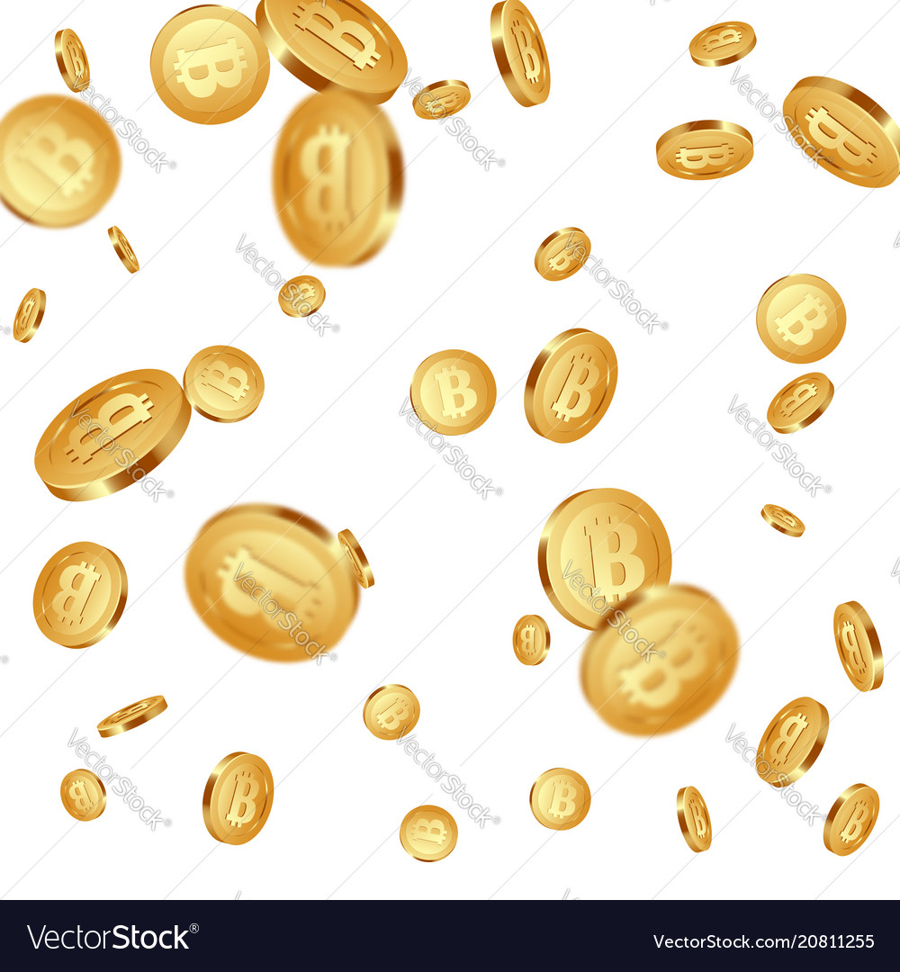 Falling metallic bitcoins background