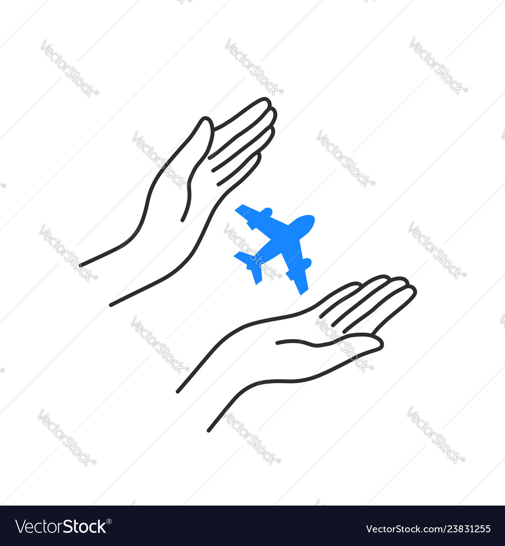 Flying plane with linear woman hands