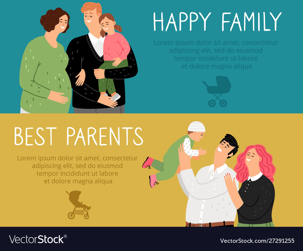 Happy family banners set