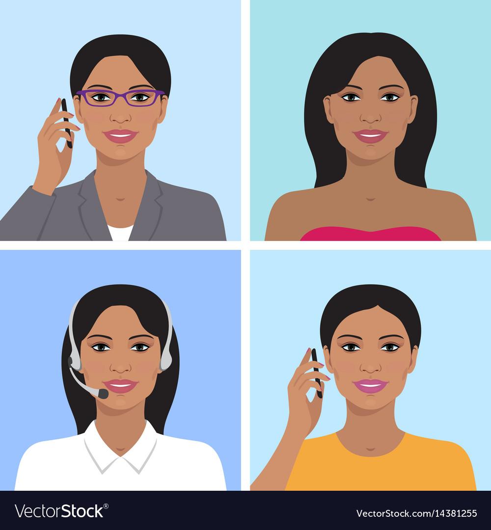 Indian woman avatar set vector image