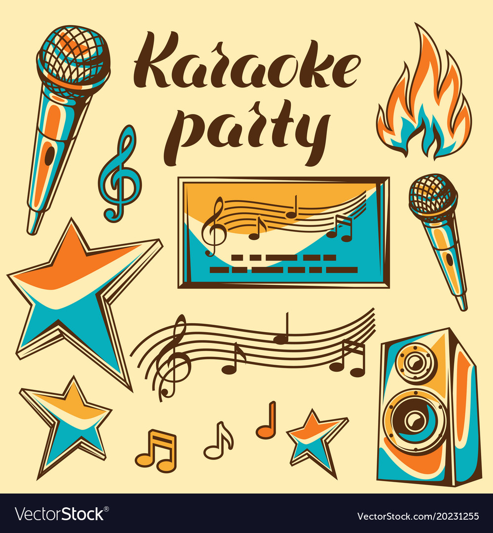 Karaoke party items music event set of objects