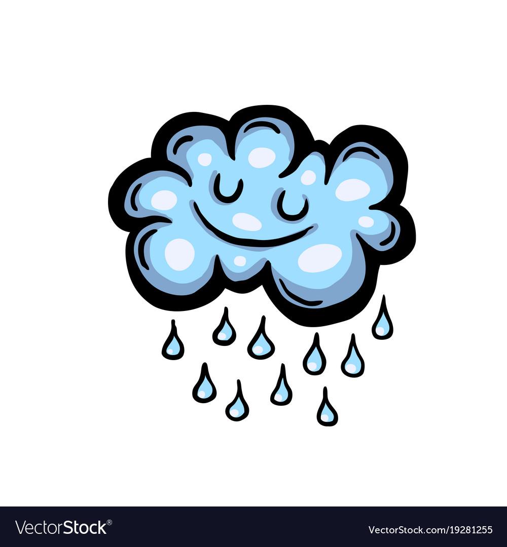 painted cartoon rain cloud royalty free vector image rh vectorstock com cartoon character rain cloud over head cartoon rain cloud over head