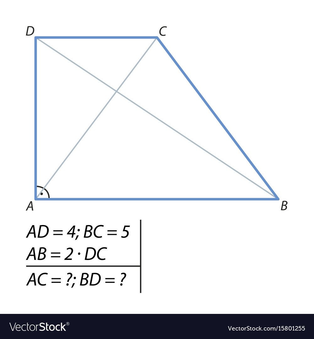 Problem of finding a diagonal trapezoid-01 vector image