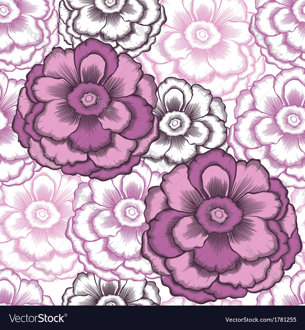 Seamless decorative pattern with peonies