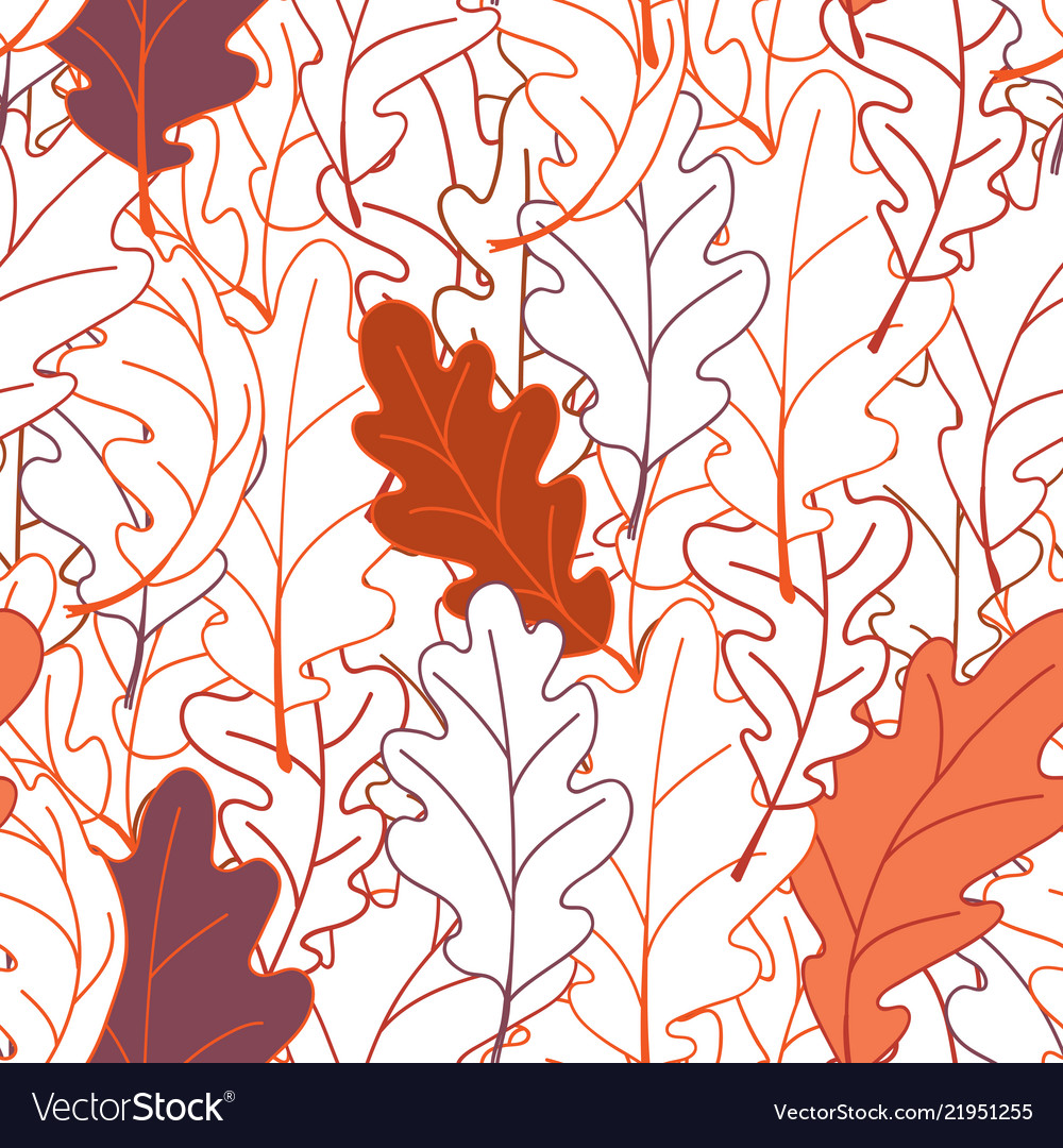 Seamless Plant Pattern Of Oak Leaves Line Drawing Vector Image