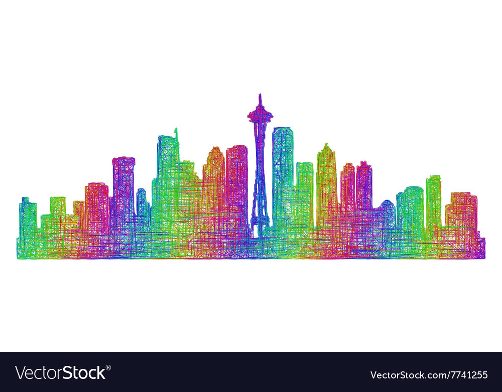 Seattle skyline silhouette - multicolor line art