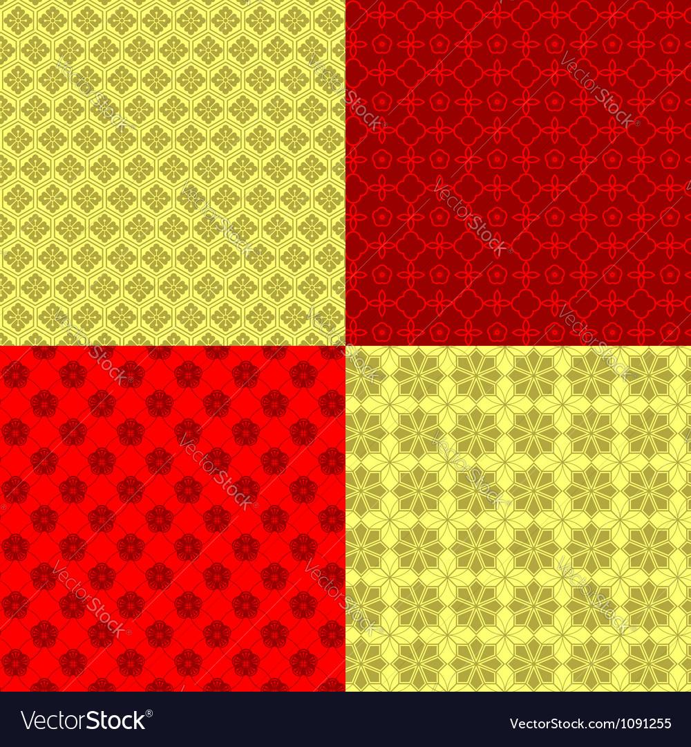 Set of Oriental Chinese New Year Seamless Pattern