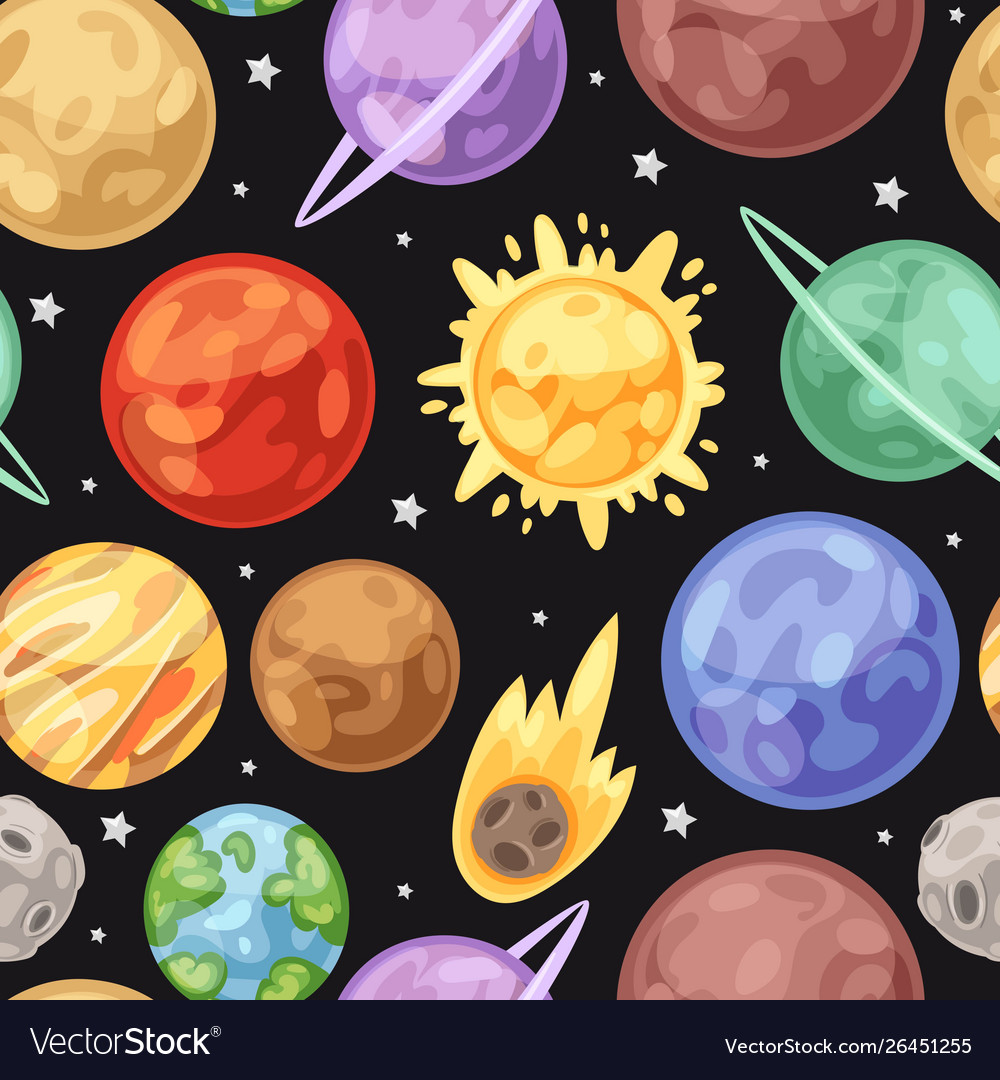 Space universe planets seamless pattern on