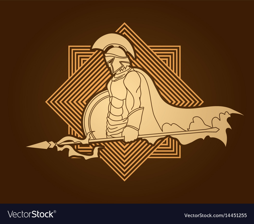 Spartan warrior with spear and shield roman army