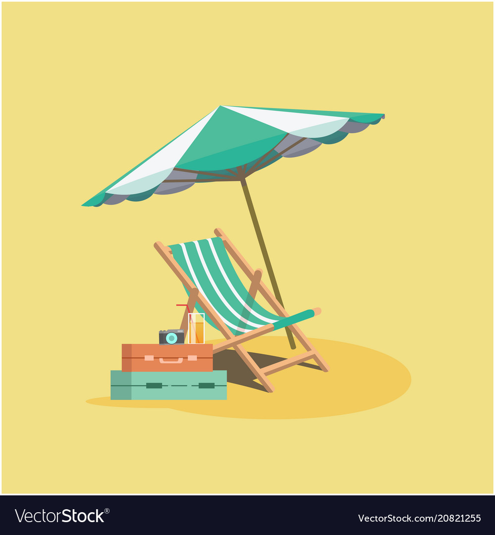Summer beach umbrella chair baggage yellow backgro