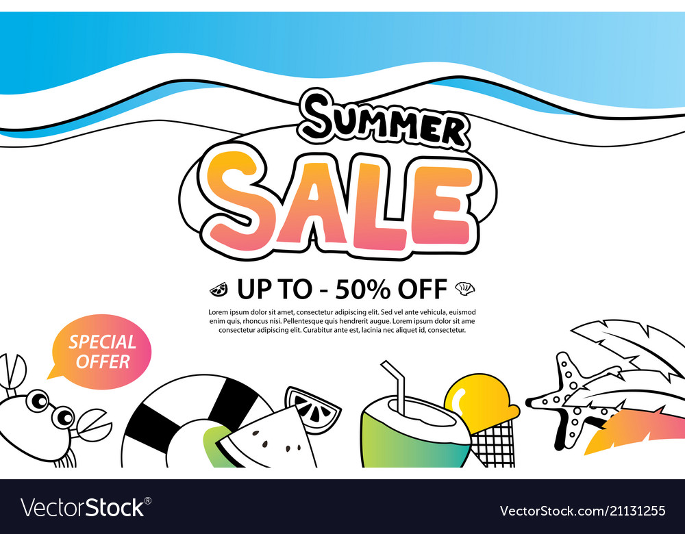 Summer sale with doodle icon and design on white