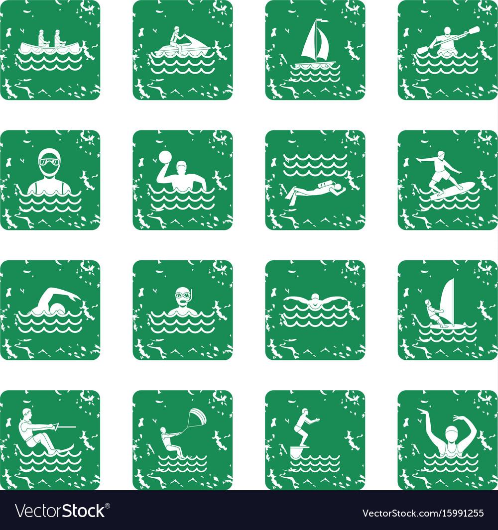 Water sport icons set grunge