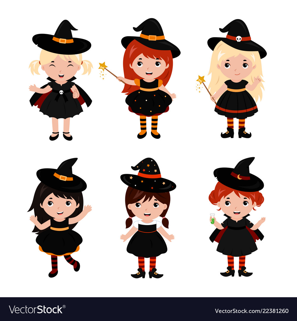 Adorable little witch characters in different