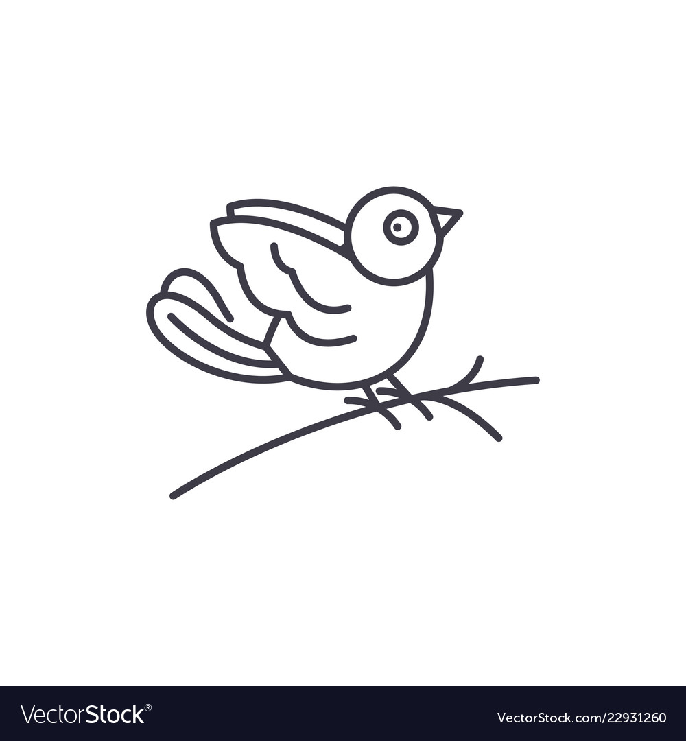 Bullfinch line icon concept bullfinch