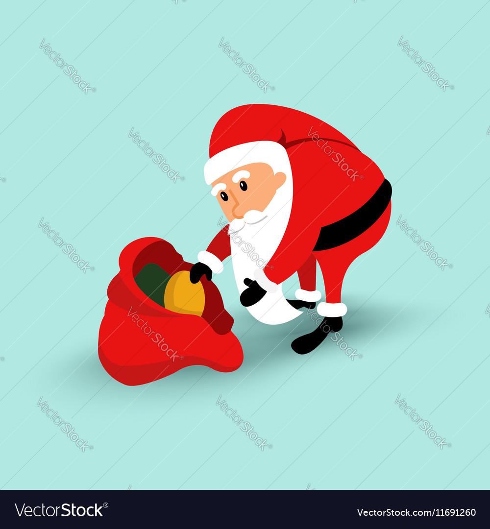 Cartoon Santa Claus sitting on a chair and read a