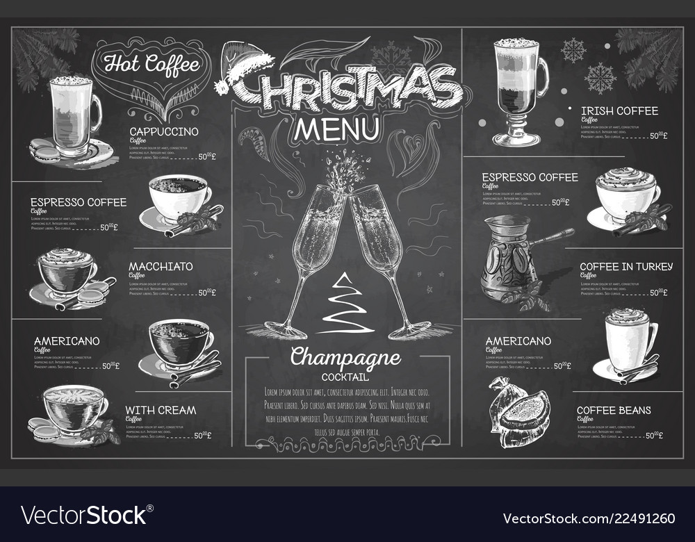 Chalk drawing christmas menu design with champagn