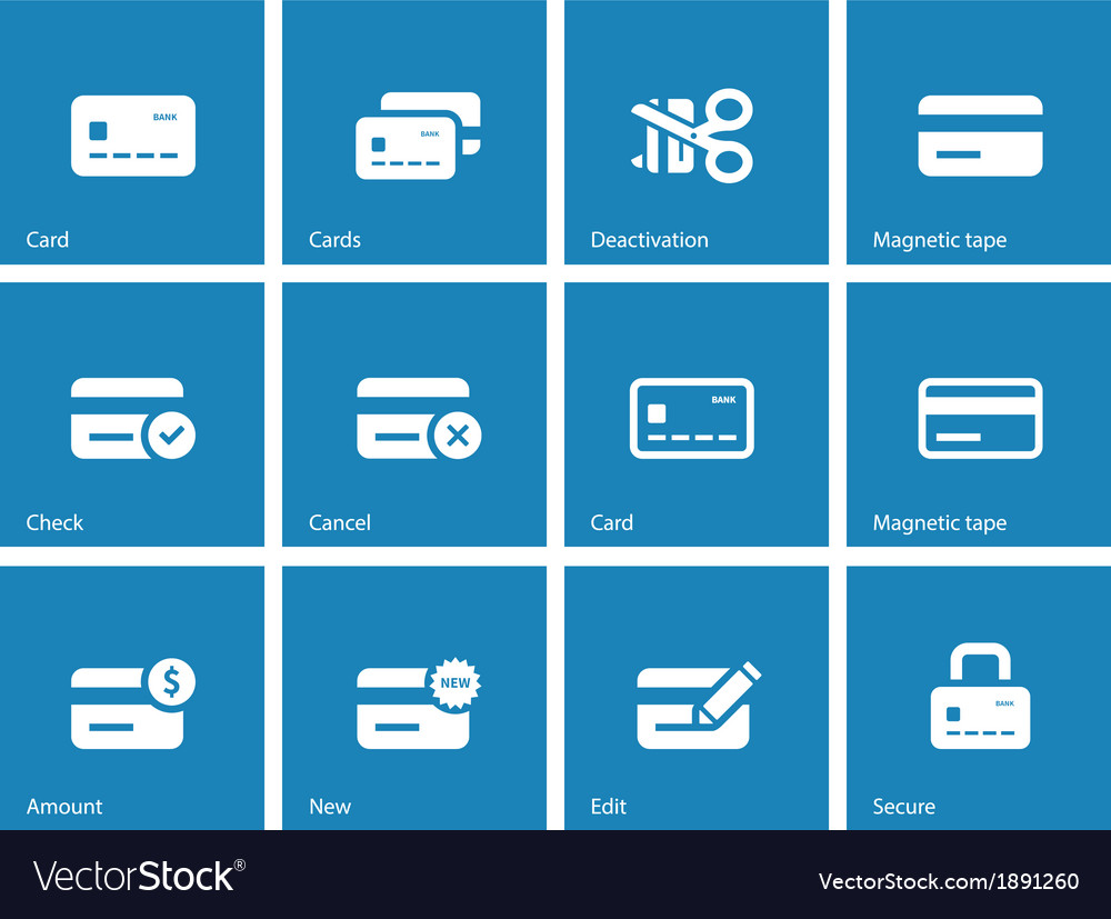 credit card icons on blue background royalty free vector