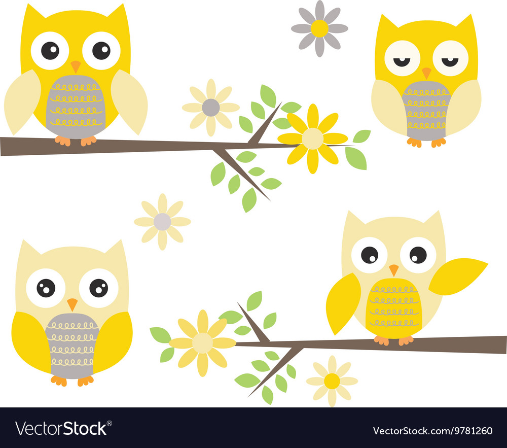 Cut Owl with Branches Yellow and Grey Owl