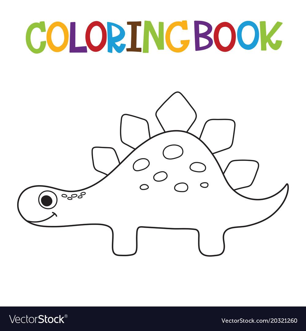Cute dino coloring book Royalty Free Vector Image