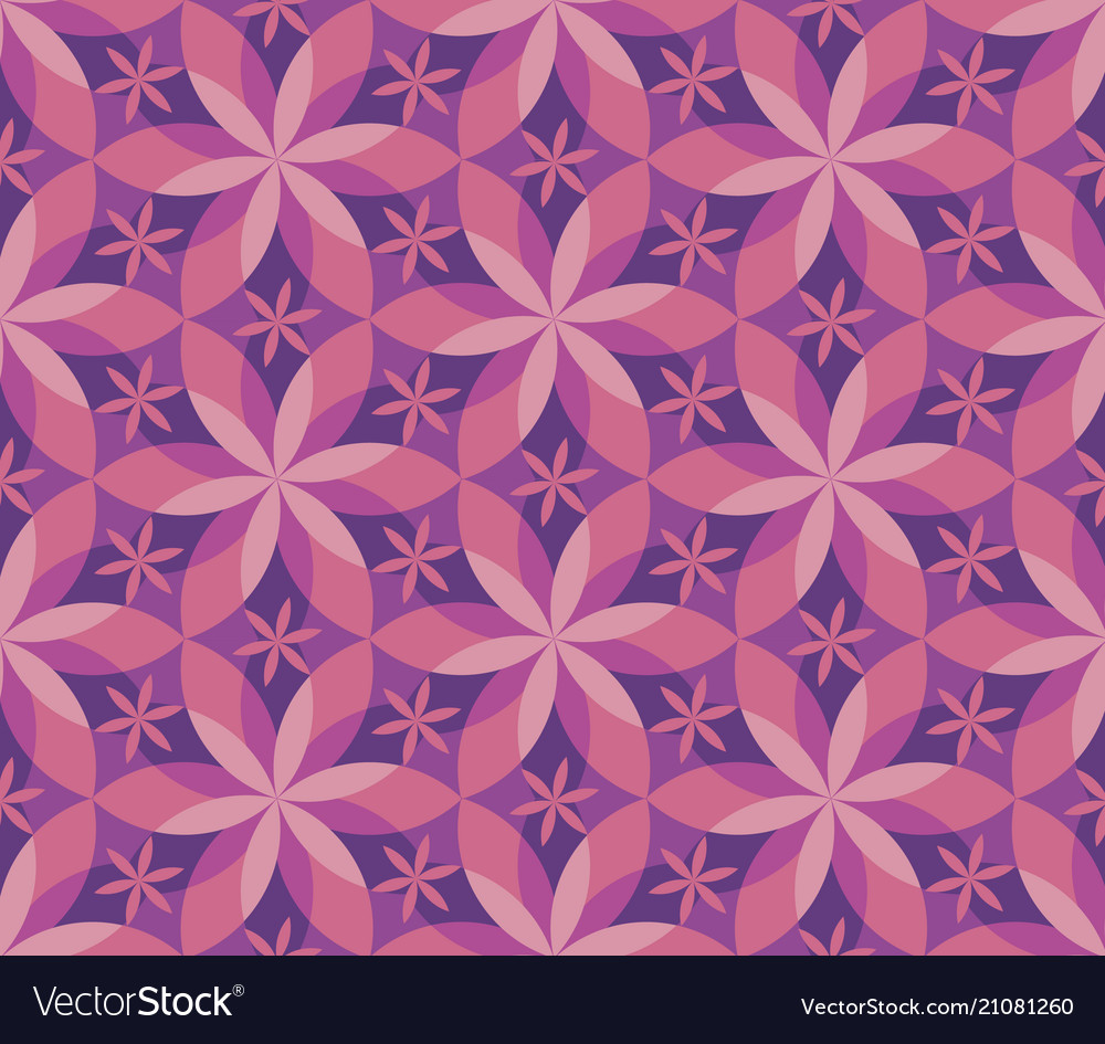 Decorative geometric flower seamless pattern vector image