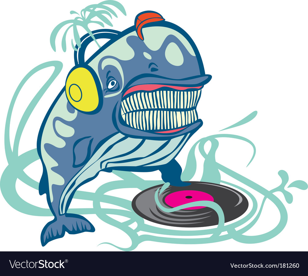 Dj whale vector image