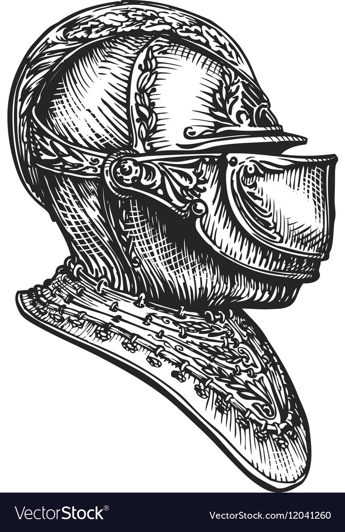 knight helmet sketch royalty free vector image