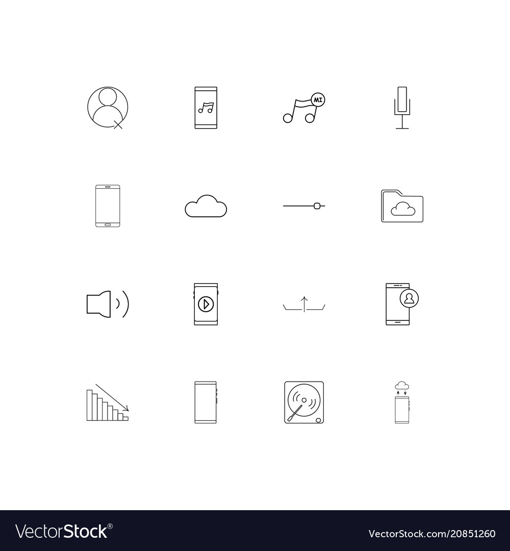 Music linear thin icons set outlined simple icons
