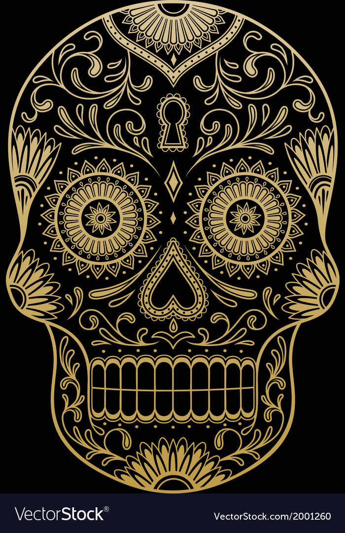 ornate one color sugar skull royalty free vector image rh vectorstock com sugar skull victoria beer cap sugar skull victoria beer cap
