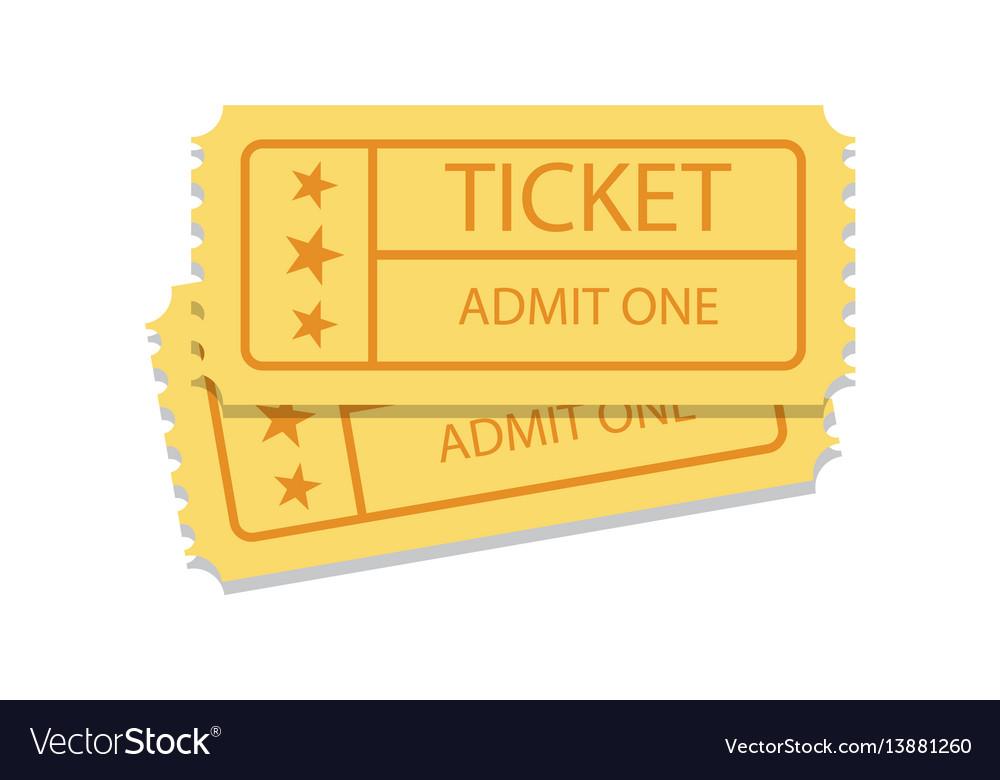 Pair of golden vintage cinema tickets