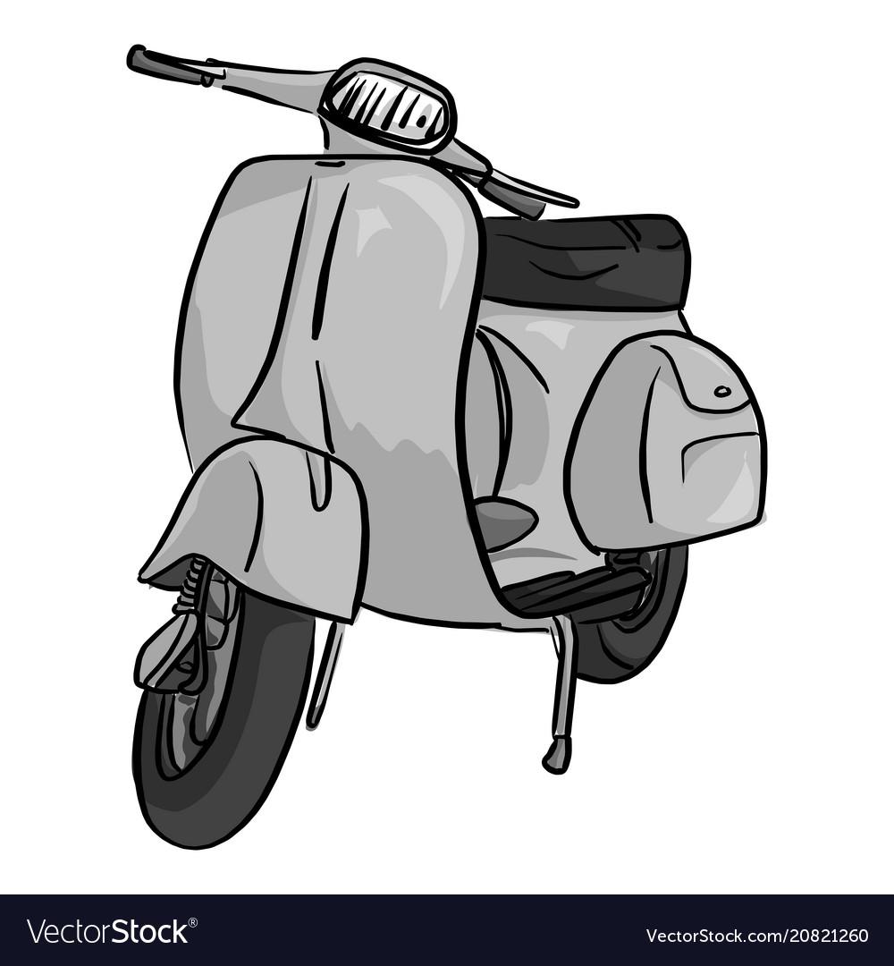 Retro gray motorcycle sketch doodle