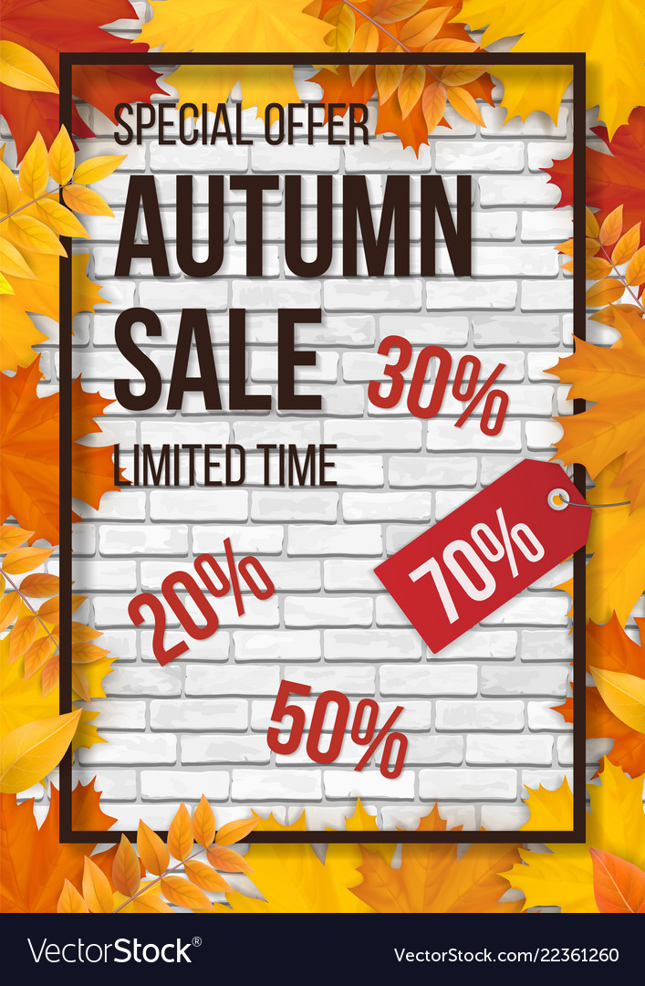 Sale fallen leaves frame white brick