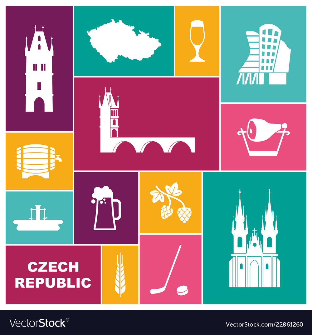 Symbols of the czech republic flat icon