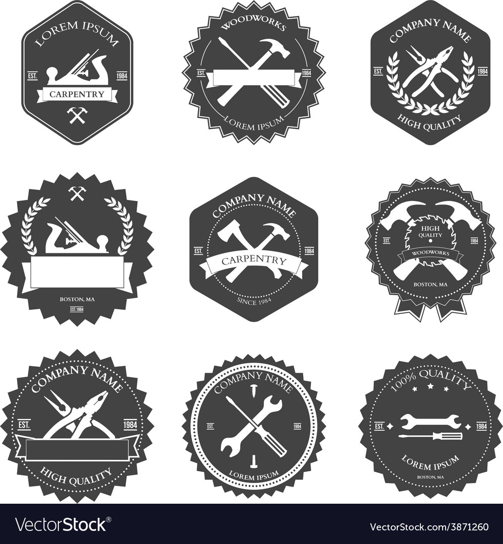 Vintage carpentry tools labels and design vector image