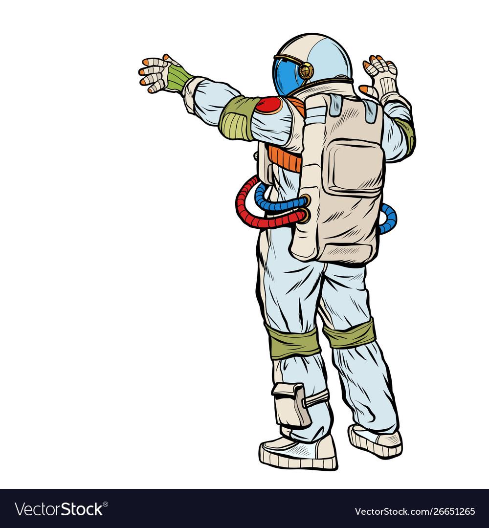 Astronaut opened his hands