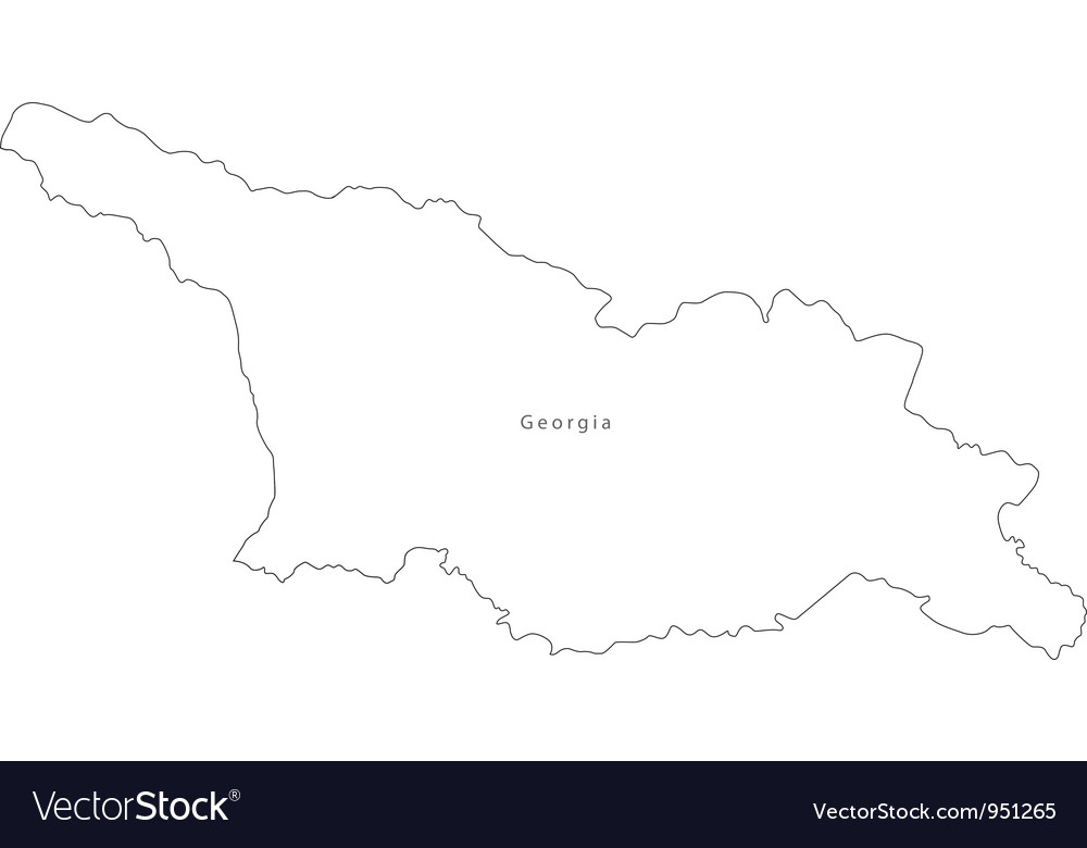 Black White Georgia Outline Map vector image