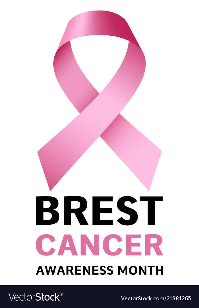 Breast cancer month logo realistic style