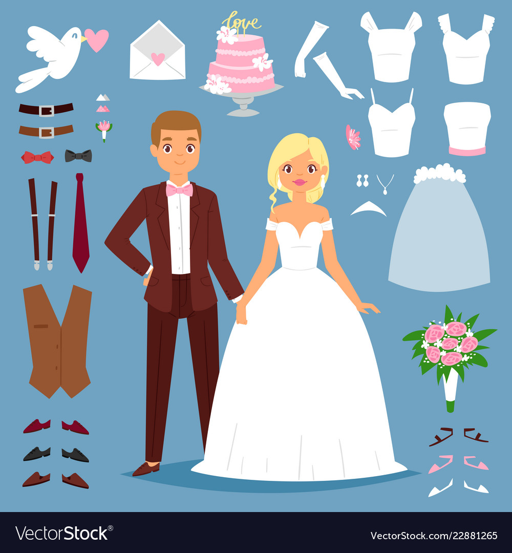 Cartoon wedding bride and groom couple